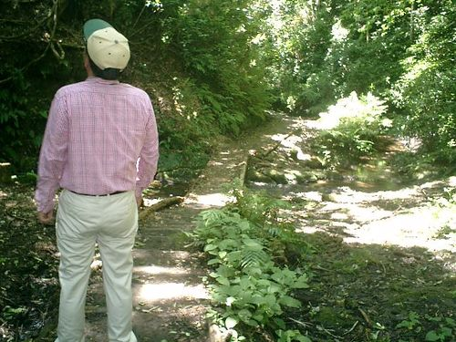"""055) """"天園ハイキングコース"""" 進行中。'二階堂川'上流の、沢に沿って"""