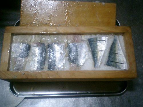 01) 寿司飯の上に鰯の酢締め/しめ鯖を乗せて、軽く押して形を整えた。