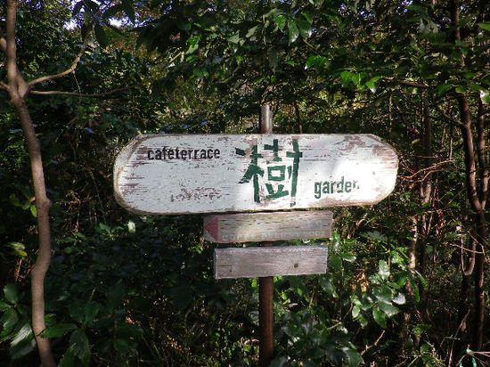 22) 左方向が「カフェテラス 樹(いつき)ガーデン」を案内する道標。我々の進行方向は、右方向。 _ 9:48am頃