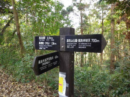 25) 「大仏ハイキングコース」道標。我々は、右方向へ進行。因みに、手前方向は「長谷大谷戸交差点」(「カフェテラス 樹(いつき)ガーデン」トンネル側登り口と反対側の、「長谷大谷