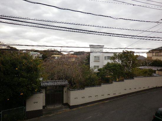 1-06)撮影立ち位置が市境付近で、道路に沿った左側は鎌倉市。 右~奥は団地で、当地周辺では宅地造成地を「団地」と呼び県の沿岸では最初期群の団地。  _ 7:47am頃