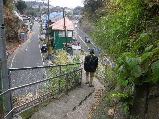 08-05) 二つのトンネル間から降りる。左:バス路線が敷かれている一般道。トンネルは「小坪隧道」(名越のアノ「小坪隧道」とは別だが、奇しくも両者 鎌倉と逗子との市境。) 右:R