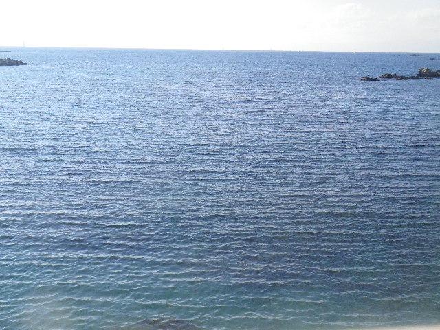 17) これでも、眼下の水面に浮かぶ水鳥の群れを撮ったつもり。ズームでも撮ろうとしたが、小波の向こうへ隠れてしまうほど小さくてズームのままでは姿を追い求められなかった。