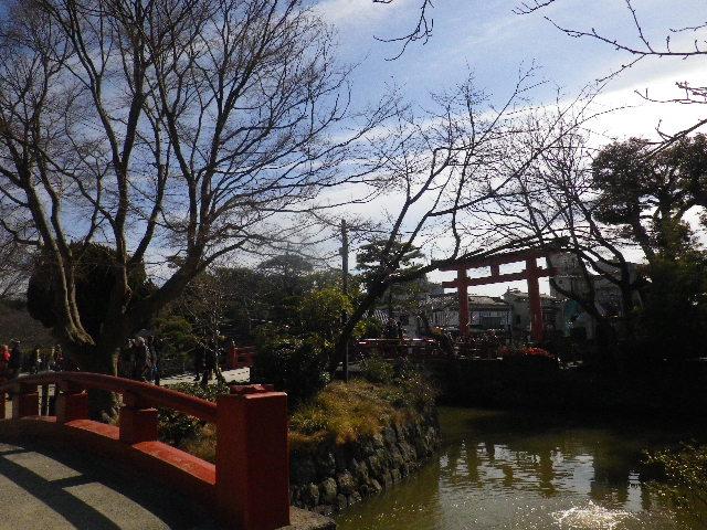 06-1-02) 葉が落ちて ' 三の鳥居 ' が見えるようになっていたから、' 平家池 ' の島から撮った。