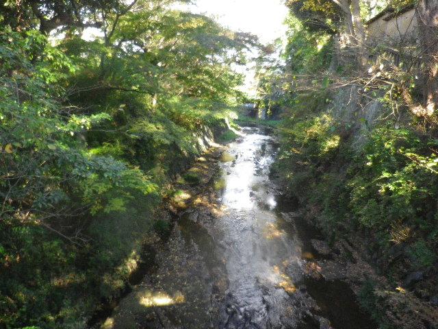 02-1) 滑川に掛かる ' 東勝寺橋 ' から、上流=隣の ' 宝戒寺橋 ' 方向。
