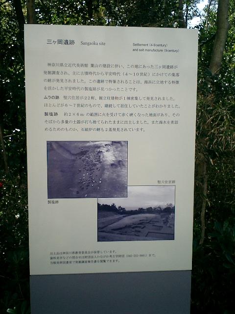 25) 三ケ岡(さんがおか)遺跡。美術館建造時に発掘