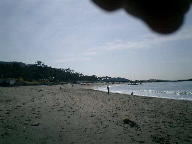 14) 海岸から葉山御用邸を観る。   日差しを遮る手が写り込んだ。